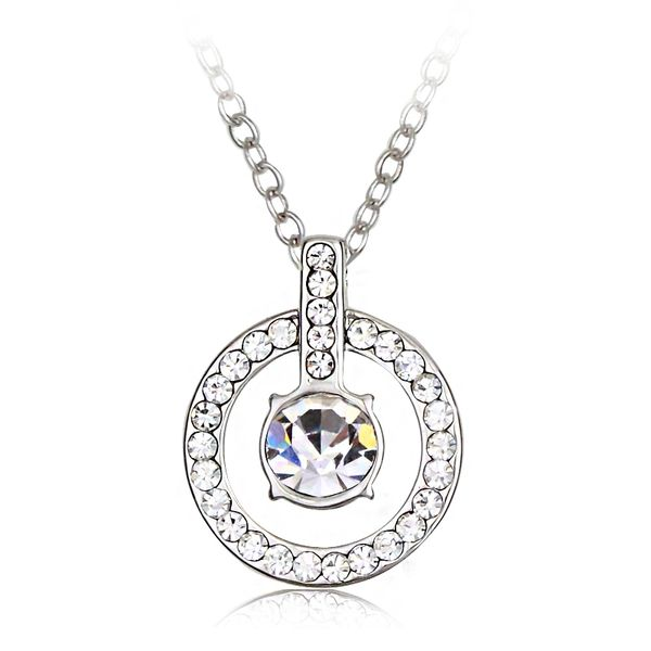 Fashion Simply Crystal & Diamond Women Engagement Necklace Made With Crystals From Swarovski & Zircon