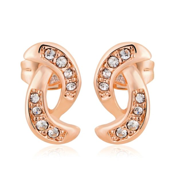 Rose Gold Stud Earrings Made With Crystals From Swaroski