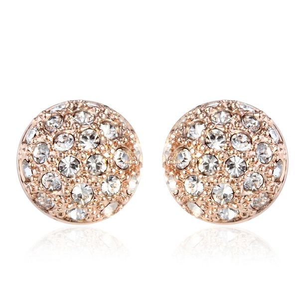 Rose Gold Stud Hat Earrings Made With Crystals From Swaroski