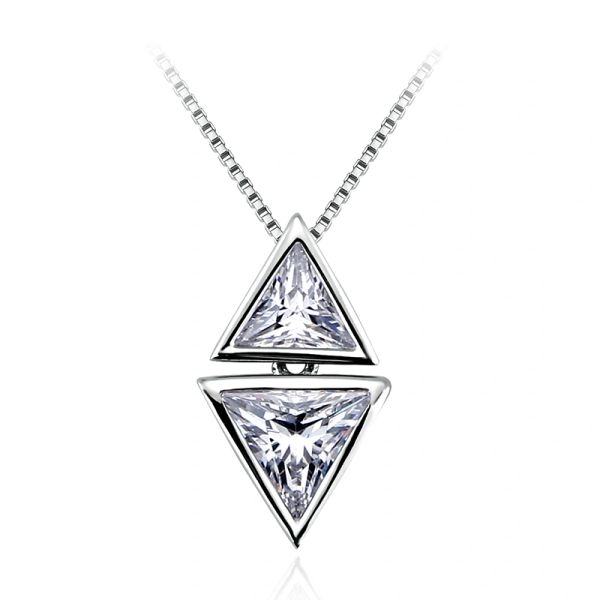925 Sterling Silver Triangle Necklace Made With Crystals from Swarovski