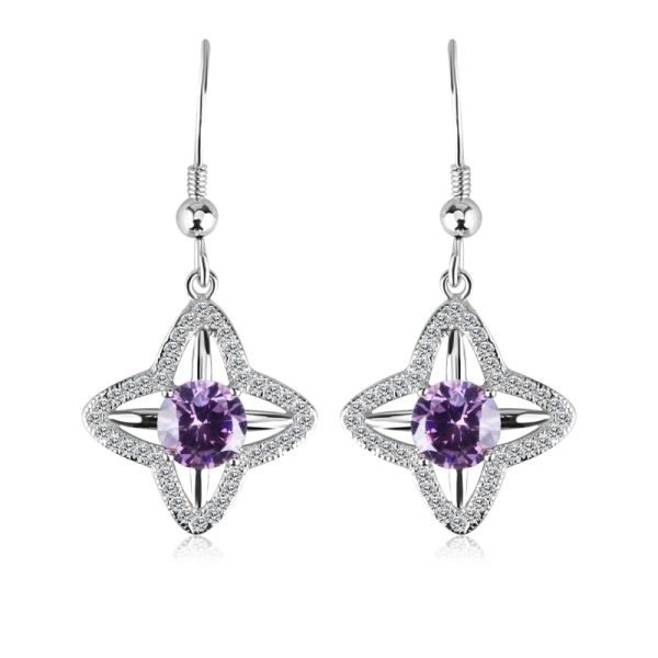 925 Sterling Silver Tanzanite Drop Earrings Made With Crystals From Swarovski