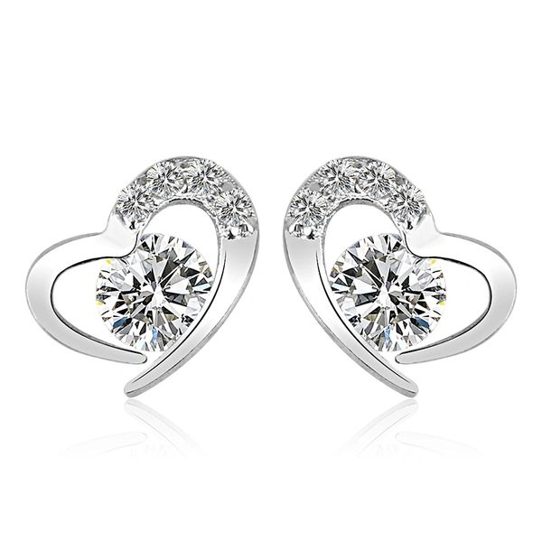 Sterling Silver Heart Stud Earrings Made With Crystals from Swarovski