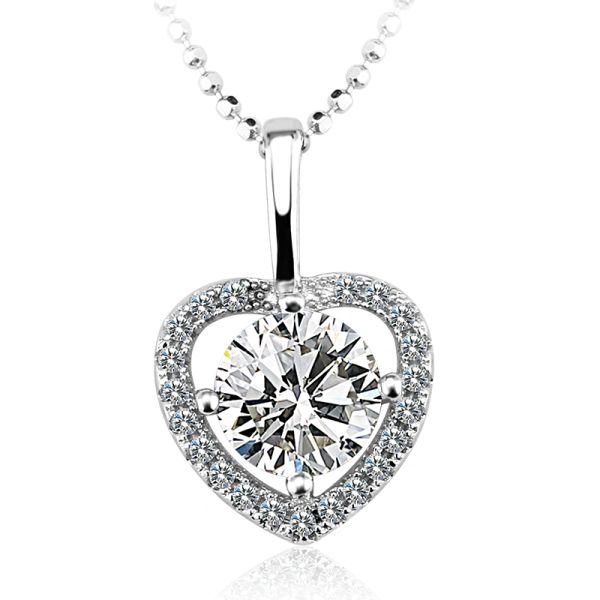 925 Sterling Silver Heart Necklace Made With Crystals from Swarovski