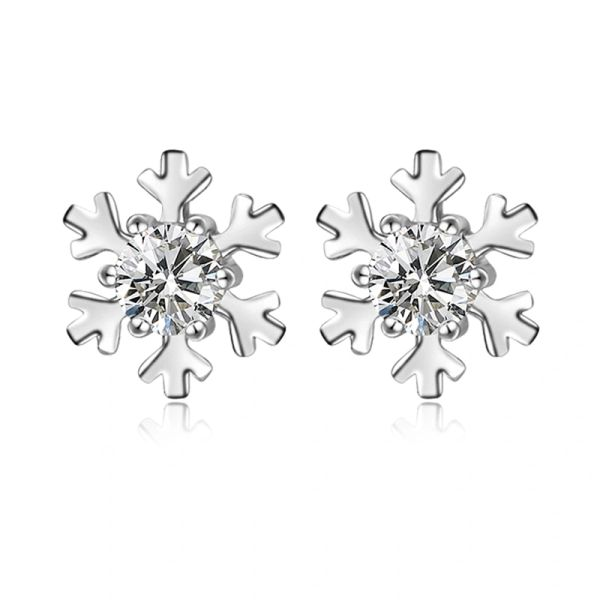 Sterling Silver Snowflake Stud Earrings Made With Crystals from Swarovski