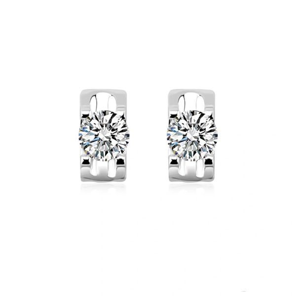 925 Sterling Silver Rectangle Stud Earrings Made With Crystals from Swarovski