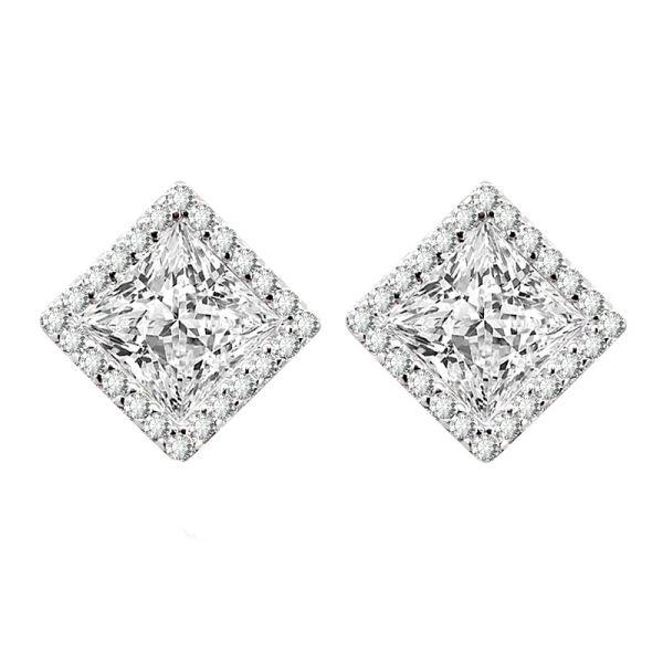Sterling Silver Square Stud Earrings Made With Crystals from Swarovski