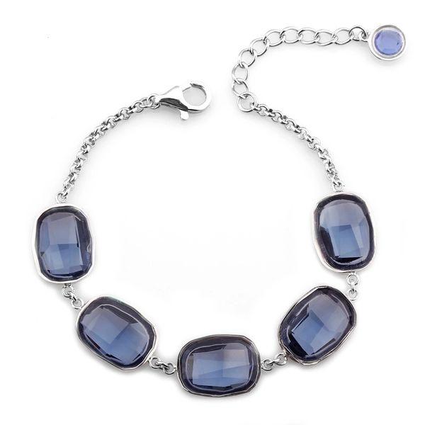 925 Blue Black Bracelet Made With Crystals From Swarovski