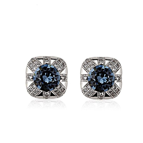925 Sterling Silver Blue Black Stud Earrings Made With Crystals From Swarovski