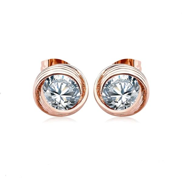 Rose Gold Earring Made With Crystals From Swarovski