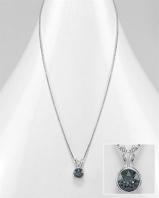 925 Sterling Silver Night Necklace Made With Verifiable Authentic Swarovski Crystals