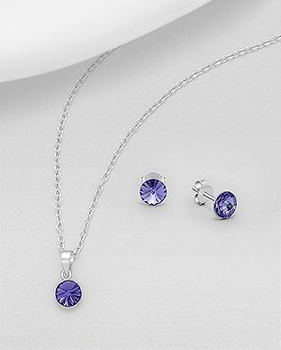 925 Sterling Silver Tanzanite Set Made With Verifiable Authentic Swarovski Crystals
