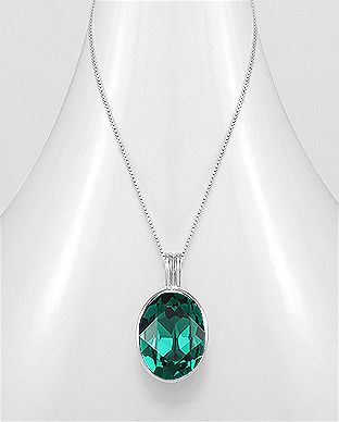 925 Sterling Silver Emerald Necklace Made With Verifiable Authentic Swarovski Crystals