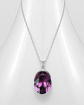 925 Sterling Silver Amethyst Necklace Made With Verifiable Authentic Swarovski Crystals