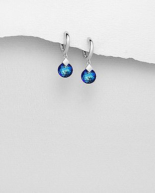 Sterling Silver Hoop Bermuda Blue Earrings Made With Verifiable Authentic Swarovski Crystals