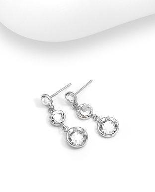 Sterling Silver Push-Back Earrings Made With Verifiable Authentic Swarovski Crystals