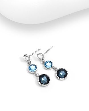 Sterling Silver Push-Back Blue Earrings Made With Verifiable Authentic Swarovski Crystals
