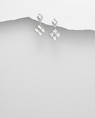Sterling Silver Square Earrings Made With Verifiable Authentic Swarovski Crystals