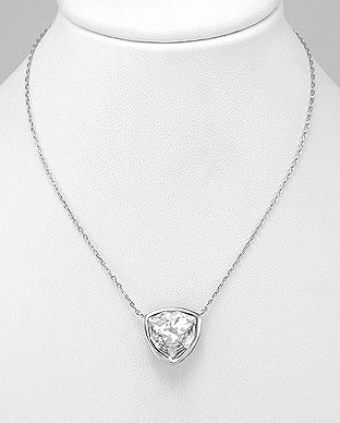925 Sterling Silver Triangle Necklace Made With Verifiable Authentic Swarovski Crystals