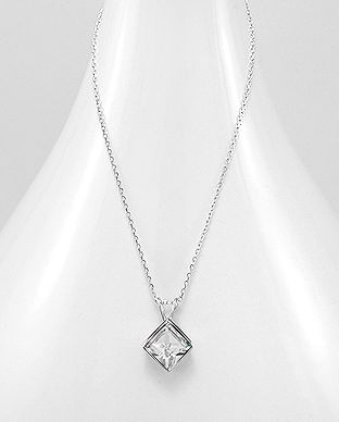 925 Sterling Silver Square Necklace Made With Verifiable Authentic Swarovski Crystals