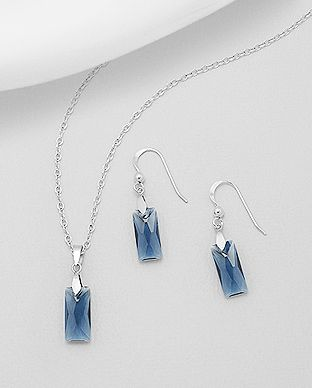 925 Sterling Silver Montana Blue Set Made With Verifiable Authentic Swarovski Crystals