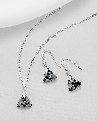 925 Sterling Silver Night Set Made With Verifiable Authentic Swarovski Crystals