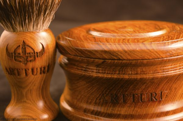 Premium Teak Shave Bowl and Teak Shave Brush 100% Pure Silver Tip Badger by ARTTURI™ Gift Set