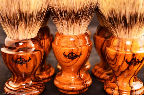 Burled Congolese Tigerwood with Pure Silvertip Badger Brush