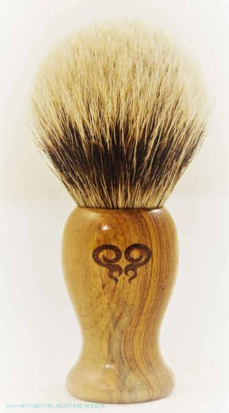 100% Silver Tip Badger Shave Brush All Leopardwood With Solid Ruby Inlay Double Swirl Gift Set