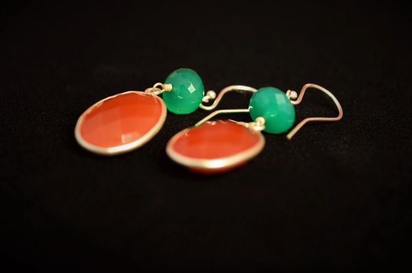 Green Onyx and Carnelian set in Sterling Silver
