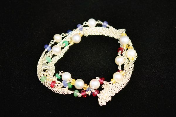 Pearl, Ruby, Emerald, Yellow Sapphire, Lolite in Sterling Silver