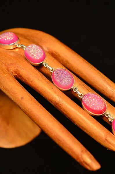 Pink Druzy Bracelet Set In Sterling Silver