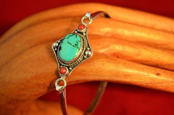 Turquoise & Coral Sterling Silver Bracelet
