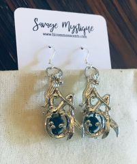 Sterling Silver Mermaid Lava Stone Earrings