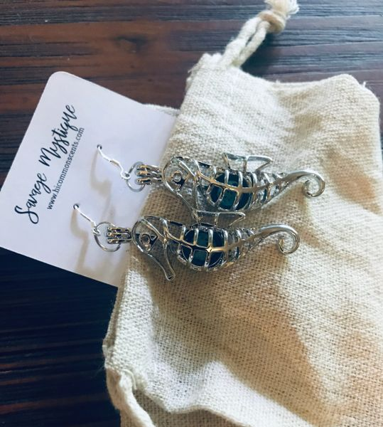 Sterling Silver Seahorse Lava Earrings