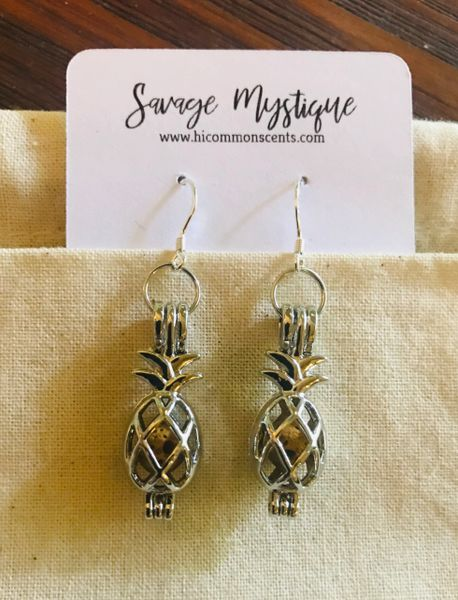 Sterling Silver Pineapple Lava Earrings