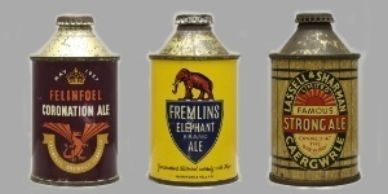 We buy old antique beer tins, beer cans and cone tops   from England, Scotland and Wales.