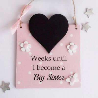 Craftworks Choice Best Selling 2019 Countdown Chalkboard Baby Big Sister Pink  Plaque Heart