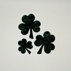 Set of three laser cut and pre fused shamrock appliques