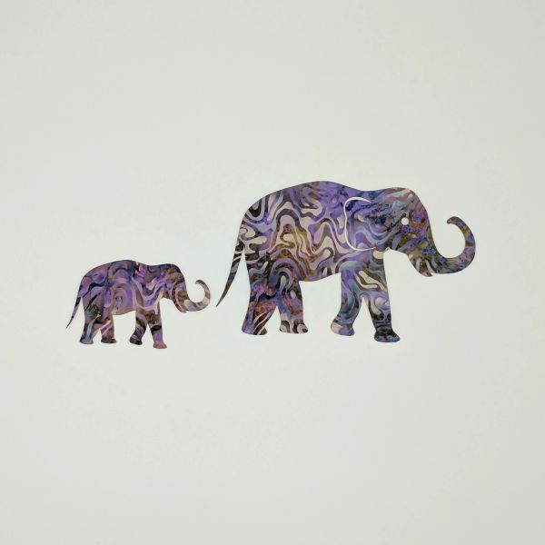 Elephant and Baby Pre fused Laser cut Applique Embellishment