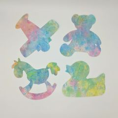 Baby Themed Pre Fused Applique, Rocking Horse, Ducky, Teddy Bear and an Airplane, Multi color pastel, baby blue, baby pink and soft green
