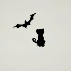 Pre Fused Laser Cut Cat and Bat Quilt Embellishment