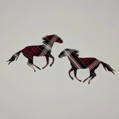 Plaid Running Horses, Pre-Fused and Laser Cut