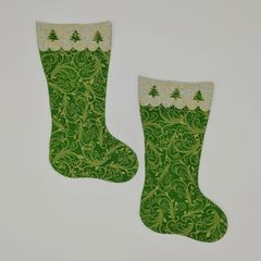 Christmas Stockings with Tree Accents, Laser Cut and Pre-Fused Applique Embellishment