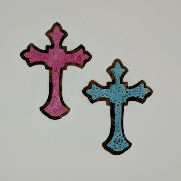 Two Tone Crosses, Laser Cut and Pre-Fused Applique Embellishments