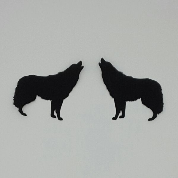 Howling Wolves, Laser Cut and Pre-Fused, Applique Embellishment