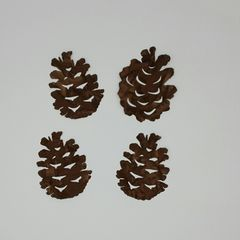 Pinecones, Set of 4 laser cut and pre fused applique embellishments