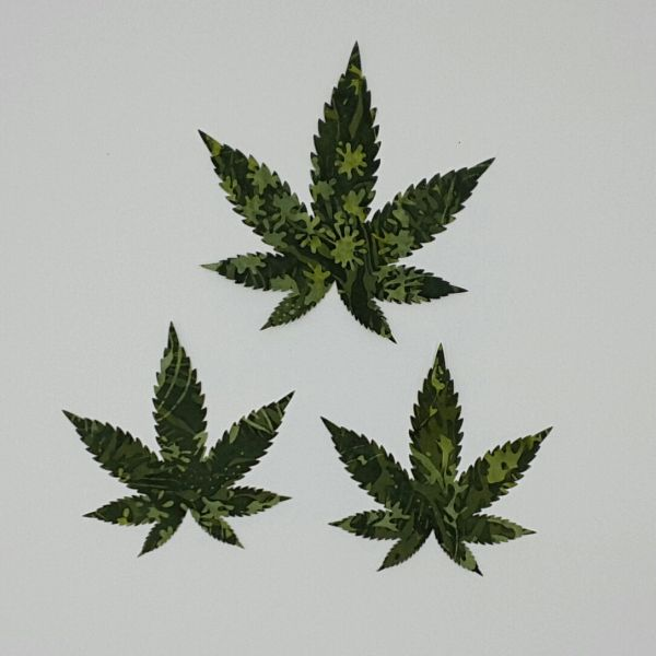 Marijuanna Leaves, set of 3, Laser Cut and Pre-Fused Applique Embellishments