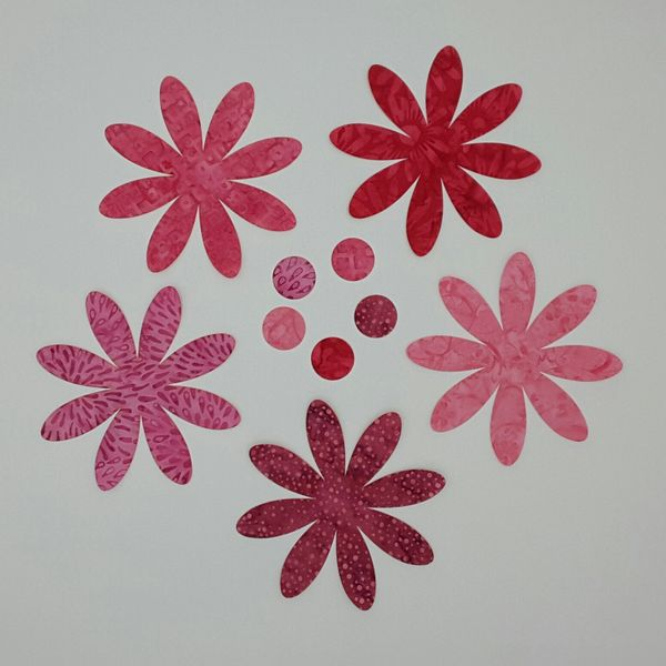 8 Petal Flowers, set of 5, Laser cut and pre-fused