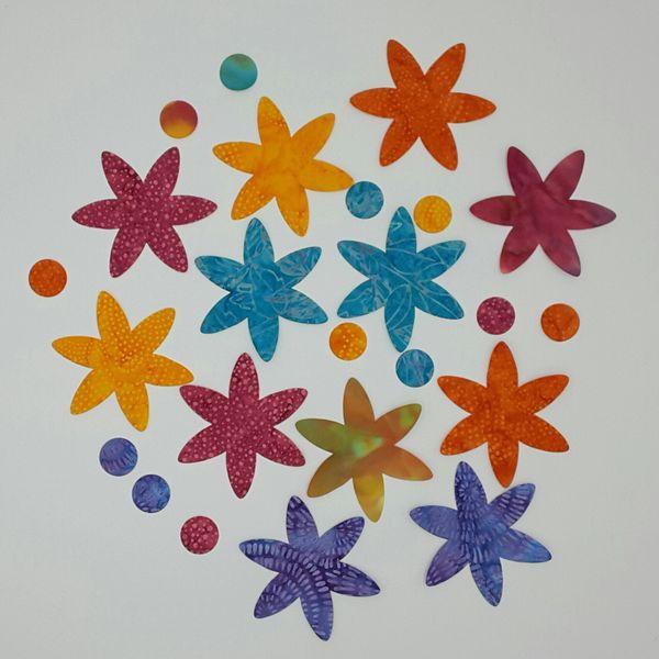 6 Petal Flowers, Set of 12, Laser Cut and Pre-Fused