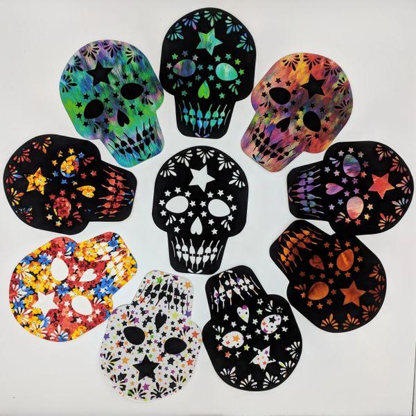 Sugar Skull, Laser Cut Sugar Skull with Background, Day of the Dead Applique